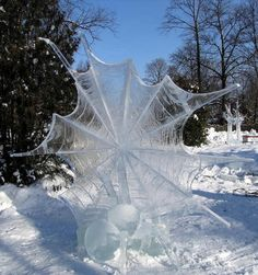 Spider and web ice sculpture