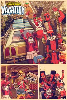 """Deadpool and Harley Quinn in """"Irrational Lampoon Vacation"""" - By Marco D' Alfonso"""
