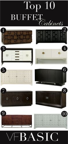 Top 10 Buffet Cabinets. Thanksgiving, Christmas and all the other holidays of life are upon us. The sideboard or buffet cabinet is a must have for showing off flatware, serving trays and delicious food.