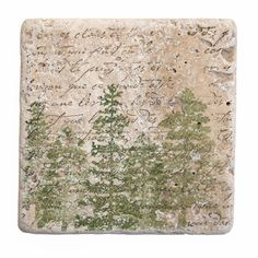 Natural Stone Coasters with Hand-Stamped Firs and Writing.