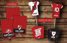 #River #kitcumple Cartelitos comida #cajas y camisetas para centros de mesa #imprimible