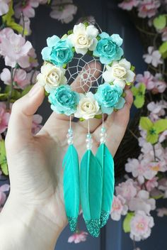 Turquoise Dream Catcher Car Charm, Teal Car Accessories for Women, Cute Rearview Mirror Charm, Hanger, Car Dreamcatcher t Car Accessories For Women, Car Interior Accessories, Mirror Hangers, Dream Catcher Art, Cute Cars, Fancy Cars, Turquoise, Etsy, Diy And Crafts