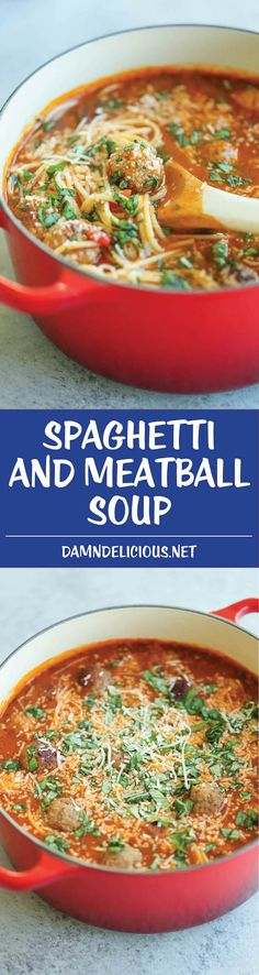 Spaghetti and Meatball Soup - Everyone's favorite dish is turned into the creamiest, coziest soup ever! Made in just 20 min. Kid and adult-friendly! #meatballsouprecipes