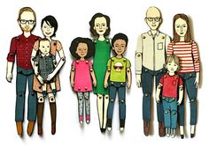 Five Fun Twists on Family Portraits (I like the Personalized Paper Dolls from Jordan Grace) Paper Puppets, Paper Toys, Fun Family Portraits, Do It Yourself Baby, Thing 1, Wooden Dolls, Art Plastique, Family Gifts, Retro