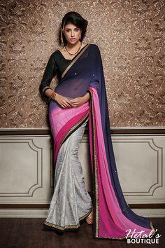 Blue, Pink & Grey Color Georgette & Brasso Fabric Saree