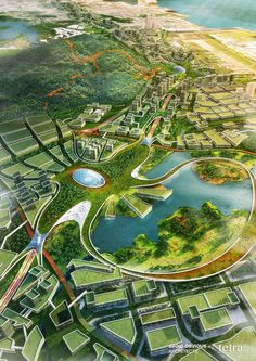 Ideas Landscaping Architecture Masterplan Cities For 2019 Green Architecture, Futuristic Architecture, Sustainable Architecture, Landscape Architecture, Architecture Diagrams, Architecture Portfolio, Classical Architecture, Ancient Architecture, Fantasy Landscape