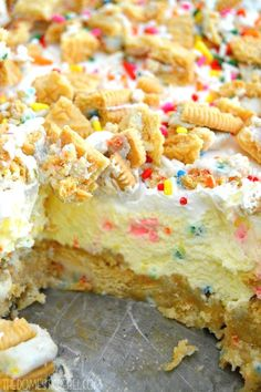 This No-Bake Cake Batter Lush is absolutely heavenly! It tastes exactly like cake batter!