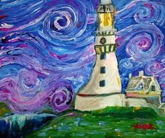 the Studio at Living Opportunities, Artist: Noo Cook,Van Gogh's Lighthouse 20×24