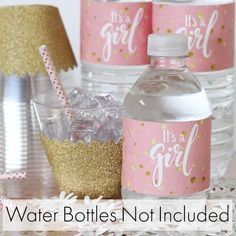 Pink and Gold It's a Girl Baby Shower Water Bottle Labels - 24 Count Check out these pink and gold girl baby shower water bottle labels, designed to match your stickers Regalo Baby Shower, Baby Shower Favors Girl, Girl Baby Shower Decorations, Baby Shower Princess, Baby Shower Centerpieces, Baby Shower Parties, Baby Shower Themes, Baby Shower Gifts, Shower Ideas