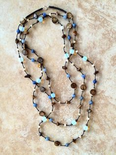 Long Stone Necklace Blue Earthy Necklace Boho by FrancaandNen