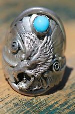 Vintage Men's Signed Navajo Sterling Silver Turquoise Eagle Ring