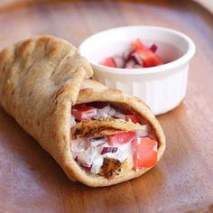 Healthy chicken gyros with tzatziki sauce.