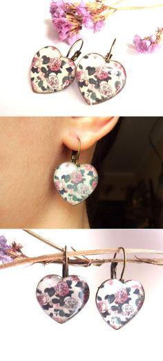Hey, I found this really awesome Etsy listing at https://www.etsy.com/listing/216835199/white-and-pink-rose-earrings-antique