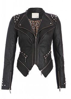 Pretty Attitude Rocking Cool Black Studded Punk Style PU Faux Leather Slim Fit Moto Jacket : Black Label $64.90 s