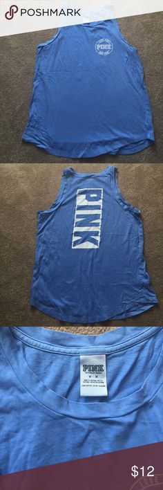 Victoria's Secret PINK Tank Top PINK size medium tank top. Blue.  worn twice PINK Victoria's Secret Tops Tank Tops