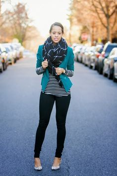 Window pane scarf, stripes and spotted shoes