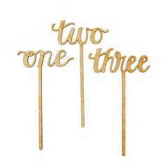 Calligraphy Wood Number Stakes by Alexis Mattox Design