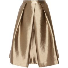 Halcyon metallic pleated taffeta skirt (290 CAD) ❤ liked on Polyvore featuring skirts, brown skirt, pleated skirt, brown pleated skirt, tibi y taffeta skirt