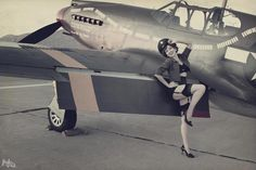 Airplane pinup girl