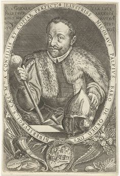 Dominicus Custos | Portret van Nikolaus Pálffy baron van Erdöd, Dominicus Custos, 1579 - 1615 | Portret van Nikolaus Pálffy van Erdöd, in ovaal met randschrift. Onder het portret een medaillon met een gezicht op de door hem ingenomen stad Gockeren aan de Donau.