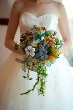 the most amazing vintage all seed bead flowers. -- I wish I knew someone who could make this for me! I'd love to have something that would last forever. :)