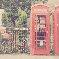 red bicycle telephone box bike cambridge photo print - whimsical fine... ($40) ❤ liked on Polyvore