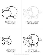 Free printable cartoon coloring pages of farm animals Art Drawings For Kids, Drawing For Kids, Cartoon Drawings, Easy Drawings, Animal Drawings, Art For Kids, Animals For Kids, Farm Animals, Grade 1 Art