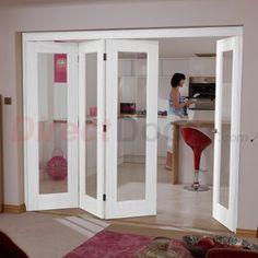 Image of LPD Nuvu Doors, Shaker P10 White 4 Door Set 3 to Left - Clear Glass