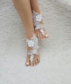 Strand Hochzeit barfuss Sandalen Elfenbein barfuss von UnionTouch