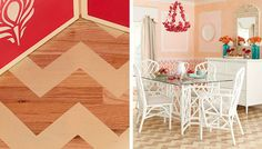 Add custom color and bold patterns to a wood or other hard-surface floor with dramatic chevrons you can stencil in a weekend. Chevron Stencil, Chevron Floor, Stencil Wood, Stencils, Modern Flooring, Unique Flooring, Wood Floors Plus, Hardwood Floors, Stenciled Floor