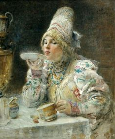This lovely painting (1914) by Konstantin Makovsky illustrates the old tradition of drinking tea from a suacer rather than the cup.