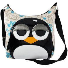 Sleepy Eye Penguin Canvas Cross Body Shoulder Bag