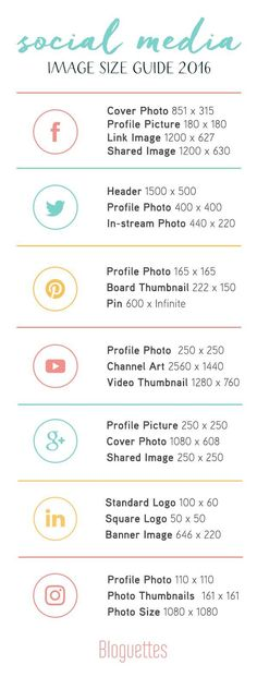 Social Media Image Size Guide for 2016! #socialmedia For the best and most affordable website builder try our 7 day FREE trial en then deside