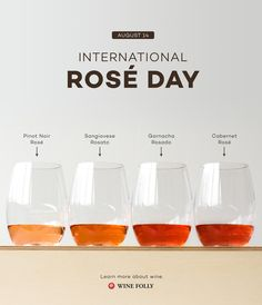 International Rosé Wine Day is on August 14th!  Learn more about this amazing wine that's somewhere in between white and red.