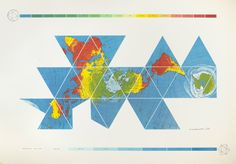 Buckminster Fuller and Chuck Byrne, Dymaxion Air-Ocean World Map, 1981; screen print; 50 in. x 72 in.; Collection SFMOMA, gift of Elizabeth and Carl Solway in memory of Robert Fillmore Lovett, Jr.; © The Estate of R. Buckminster Fuller, All Rights reserved