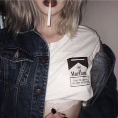 itGirl Shop YOU GOING TO DIE ANYWAY CIGARETTES PRINT T-SHIRT Aesthetic Apparel, Tumblr Clothes, Soft Grunge, Pastel goth, Harajuku fashion. Korean and Japan Style looks