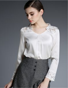 Silk and lace satin blouse