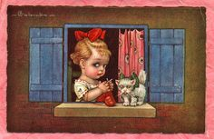 Knitting At Window With Cat by Vintage_Knitting, via Flickr