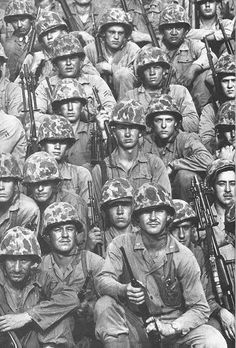 """This photo is trade mark of USMC  ist Div.( Leather neck) of Korean War(1960). They became firefighters from Battle of Masan(Pusan Perimeter)  to Battle of Chosin  reservier and end of Korean War(1953).    ***Shared from the Book"""" Korean War,                        I experienced""""--""""내가 겪은 한국전쟁--문 영 기"""