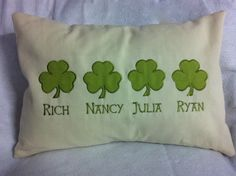 This #custom #embroidered #Irish #clover pillow is the perfect #housewarming #gift! By #WickedStitchesGifts