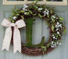 Monogrammed Moss Letter  Wreath - Summer Wreath - Fall Wreath - Wreath with Monogram Initial