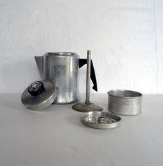4702d4815a09e6e02c0a82744c07e3cd  glass knobs cocktail shaker Old Coffee Pot Vintage Coffee Pot Camper Aluminum Percolator Small Serving