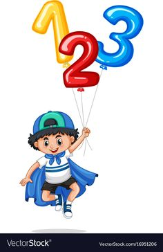 Little boy and balloon numbers one two three vector image on VectorStock Creative Poster Design, Creative Posters, Ticket Template Free, School Clipart, School Painting, Number Balloons, First Second, Kids Wall Decals, School Decorations