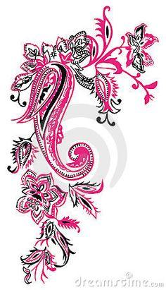 Kashmir fashion floral paisley decoration.