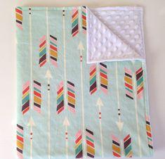 Minky baby blanket - mint rainbow arrows chevron feathers aqua Aztec - gender neutral - modern baby shower gift