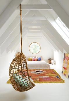 Gorgeous attic space/guest bedroom in the home of Kip & Co founder, Hayley Pannekoecke.