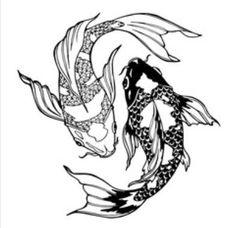 Yin Yang Tattoos, Ying Und Yang Tattoo, Geometric Yin Yang Tattoo, Dragon Yin Yang Tattoo, Tattoo Pez, Carp Tattoo, Koi Fish Drawing, Fish Drawings, Kunst Tattoos