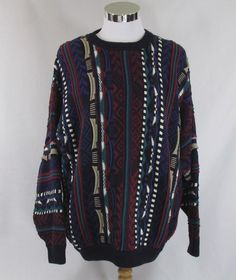 Mens Cotton Traders Sweater Large XL Cosby Coogi style Textured 3-D multi color #CottonTraders #Crewneck