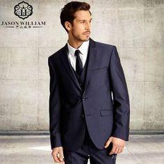 (jacket+Pants+vest+tie) Hot Sale Handsome Classic dark blue Men Suits Slim Fit