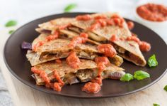 Slightly Sweet Eggplant Gouda Quesadillas
